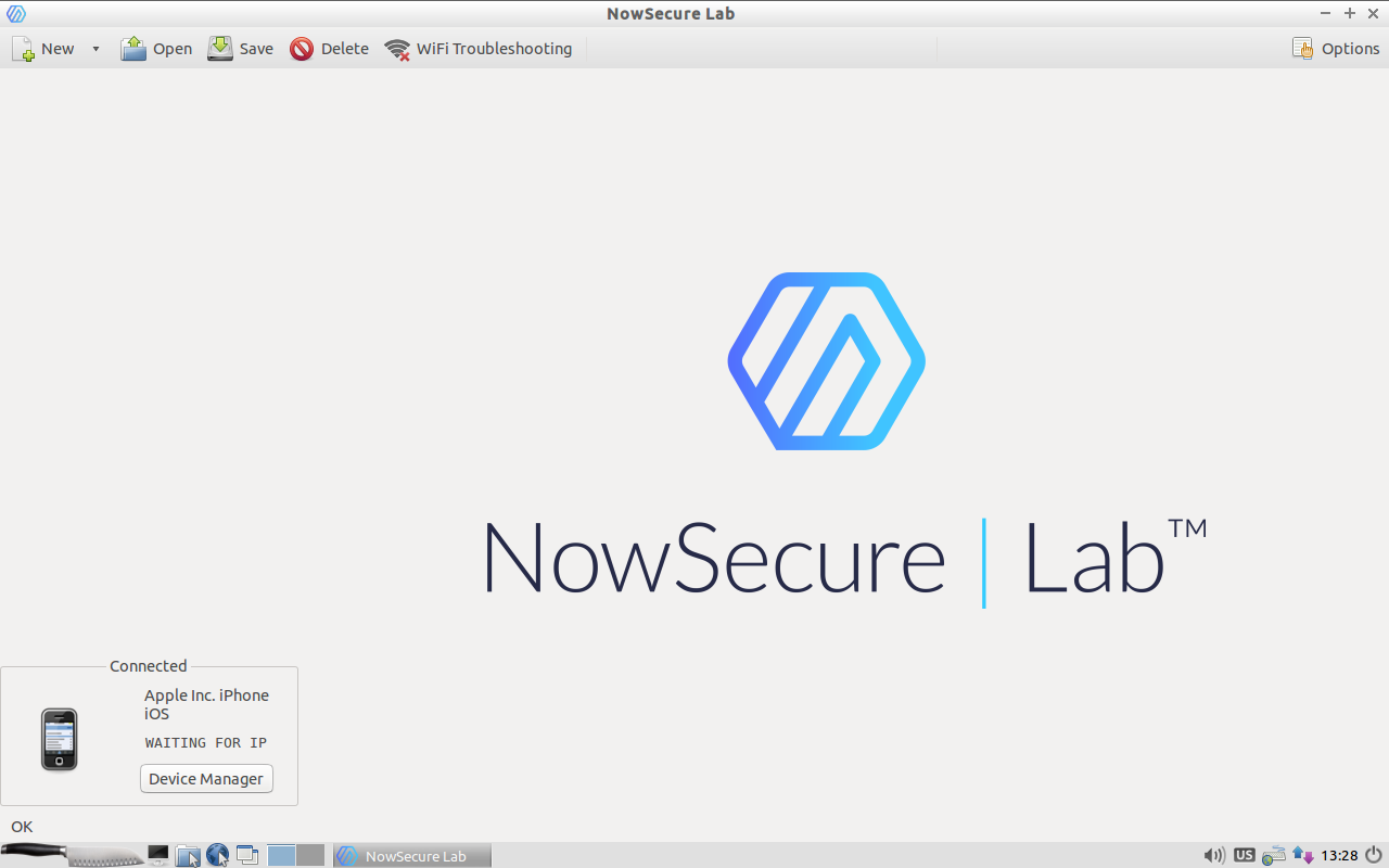 NowSecure Lab homescreen