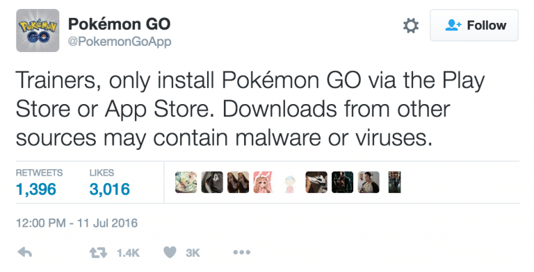 Tweet warning users of malicious versions of Pokémon GO