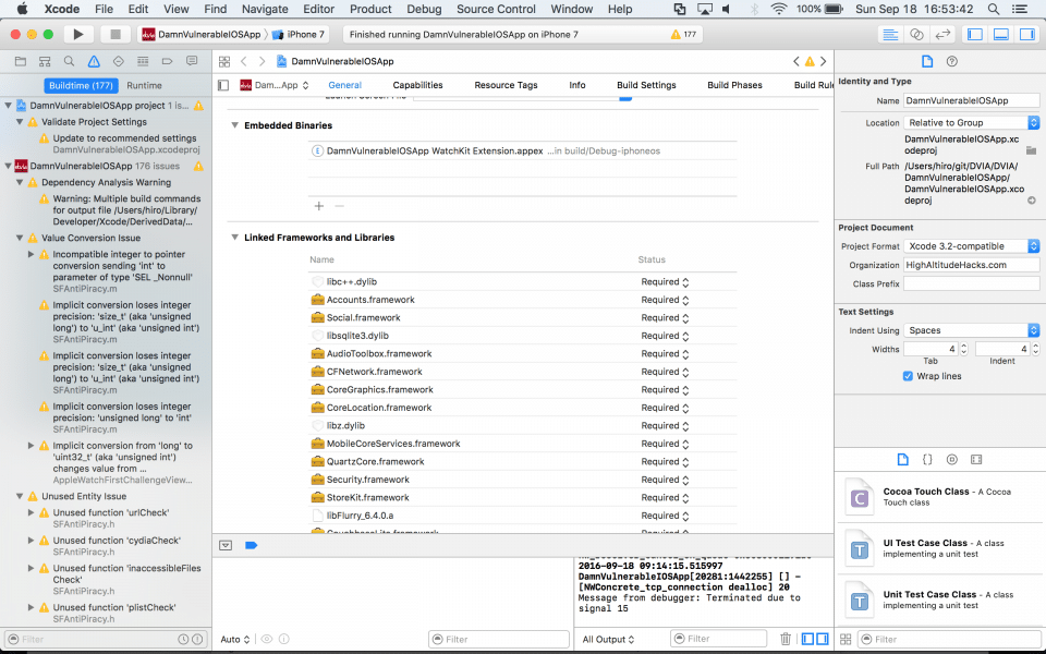 How to compile DVIA for iOS 10 and Xcode 8 for security testing